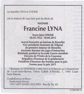 Notice nécrologique Francine Lyna
