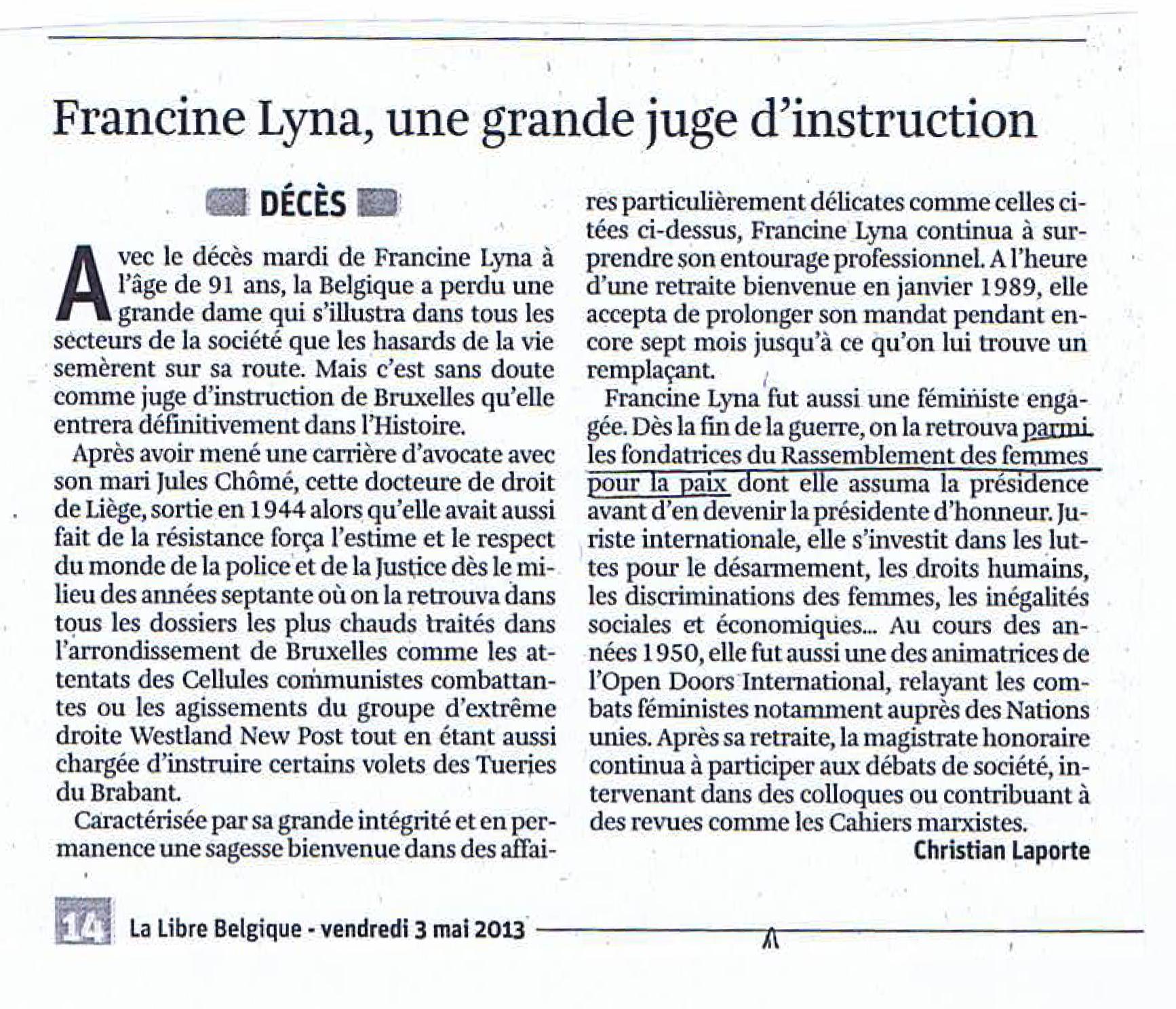 Article de Christian Laporte sur Francine Lyna - La Libre Belgique